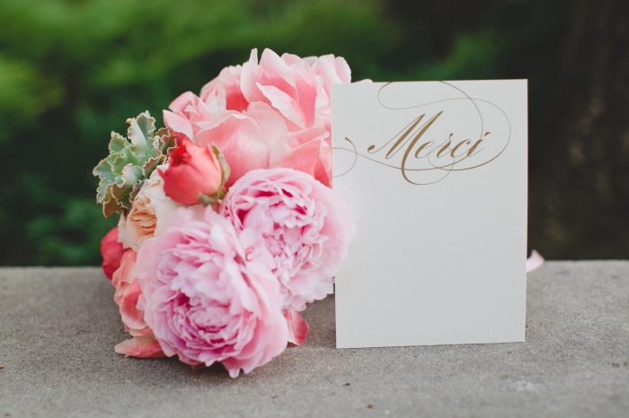 Gold foiled 'Merci' Thank You card via MontgomeryFest | Photography by Taylor Lord Photography | Florals by Bows + Arrow | Thank You card by Checkerboard Invitations