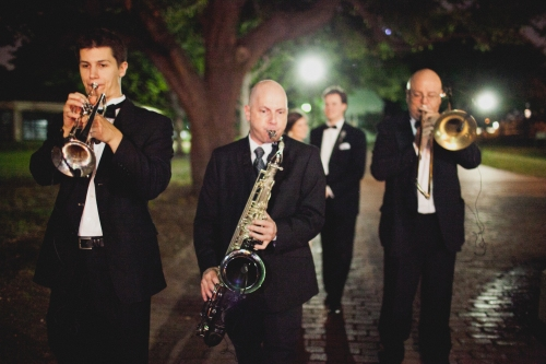 The Walton Stout Band leading in the bride and groom via MontgomeryFest | Photography by Taylor Lord Photography | Planning by After Yes